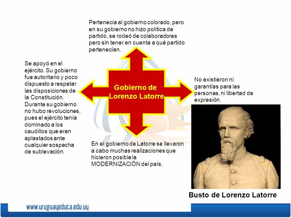 Gobierno de Lorenzo Latorre Pertenecía al gobierno colorado, pero en su gobierno no hizo política de partido, se rodeó de colaboradores pero sin tener