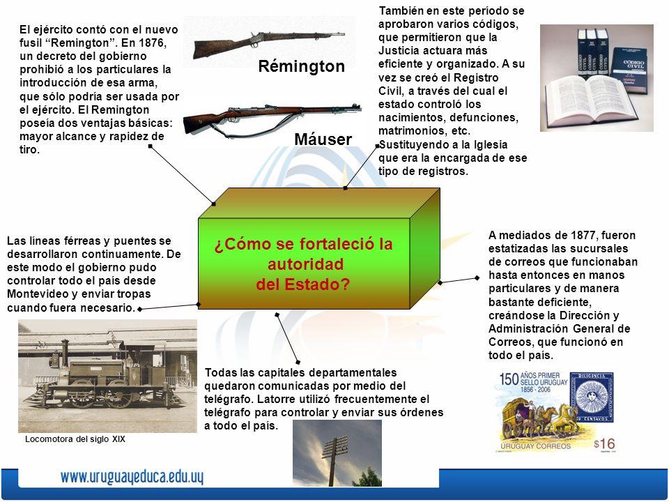 ¿Cómo se fortaleció la autoridad del Estado? El ejército contó con el nuevo fusil Remington. En 1876, un decreto del gobierno prohibió a los particula