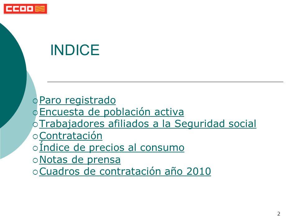 2 INDICE Paro registrado Encuesta de población activa Trabajadores afiliados a la Seguridad social Contratación Índice de precios al consumo Notas de prensa Cuadros de contratación año 2010