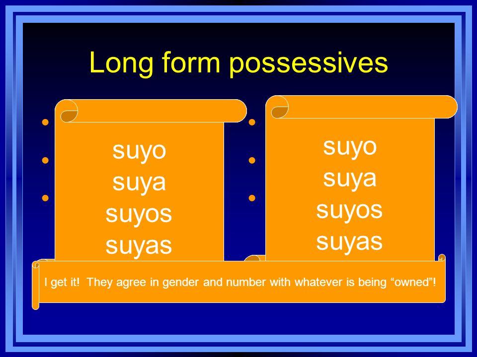 2 ways to use long form possessives Ellas son amigas mías, no son amigas suyas.