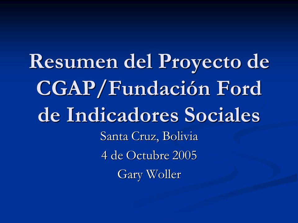 Objetivos (cont) Crear un efecto de la demostración al resto de la industria de microfinanza que lo es posible reunir e informar en un conjunto de indicadores uniformes del desempeño social.