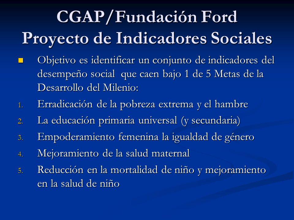 CGAP/Fundación Ford Proyecto de Indicadores Sociales Objetivo es identificar un conjunto de indicadores del desempeño social que caen bajo 1 de 5 Metas de la Desarrollo del Milenio: Objetivo es identificar un conjunto de indicadores del desempeño social que caen bajo 1 de 5 Metas de la Desarrollo del Milenio: 1.