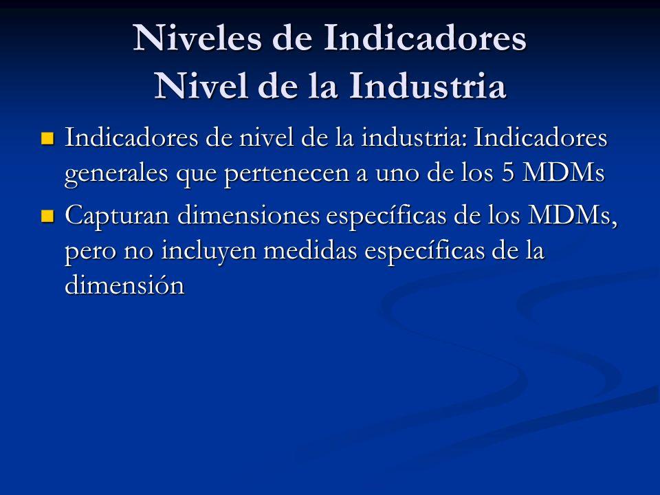 Niveles de Indicadores Nivel de la Industria Indicadores de nivel de la industria: Indicadores generales que pertenecen a uno de los 5 MDMs Indicadores de nivel de la industria: Indicadores generales que pertenecen a uno de los 5 MDMs Capturan dimensiones específicas de los MDMs, pero no incluyen medidas específicas de la dimensión Capturan dimensiones específicas de los MDMs, pero no incluyen medidas específicas de la dimensión