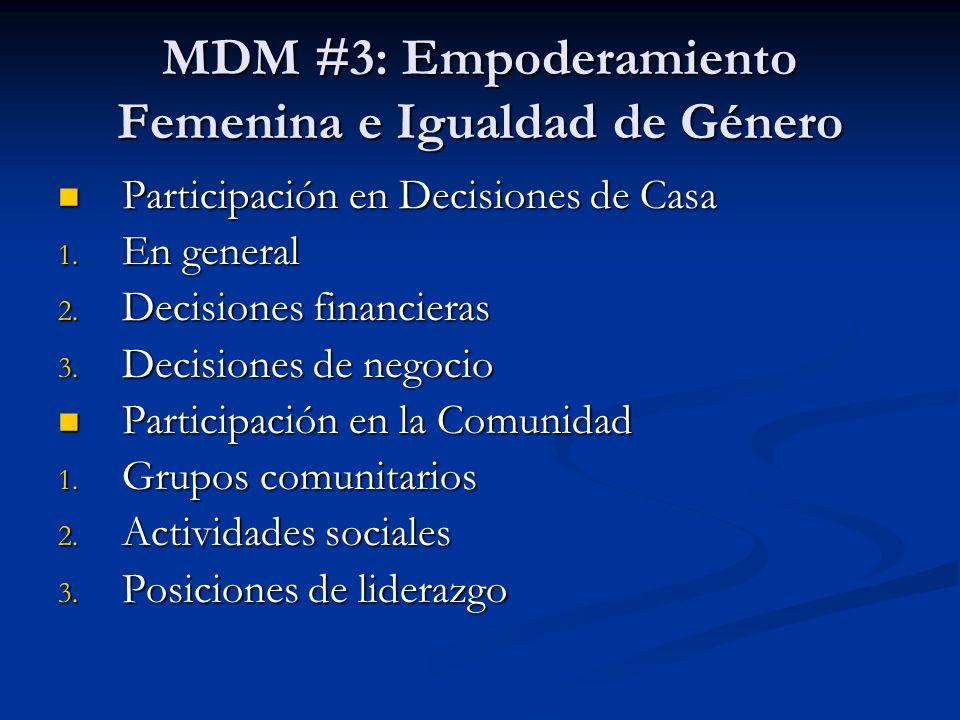 MDM #3: Empoderamiento Femenina e Igualdad de Género Participación en Decisiones de Casa Participación en Decisiones de Casa 1. En general 2. Decision