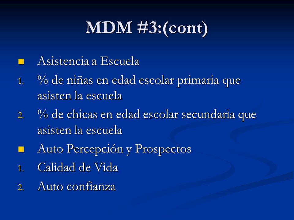 MDM #3:(cont) Asistencia a Escuela Asistencia a Escuela 1.