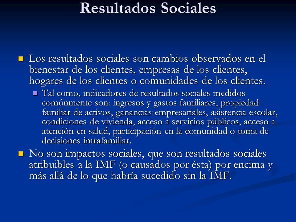 Resultados Sociales Los resultados sociales son cambios observados en el bienestar de los clientes, empresas de los clientes, hogares de los clientes o comunidades de los clientes.