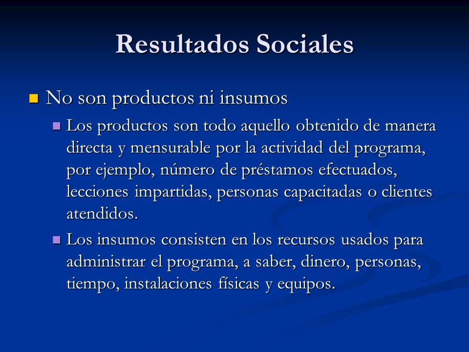 Resultados Sociales No son productos ni insumos No son productos ni insumos Los productos son todo aquello obtenido de manera directa y mensurable por