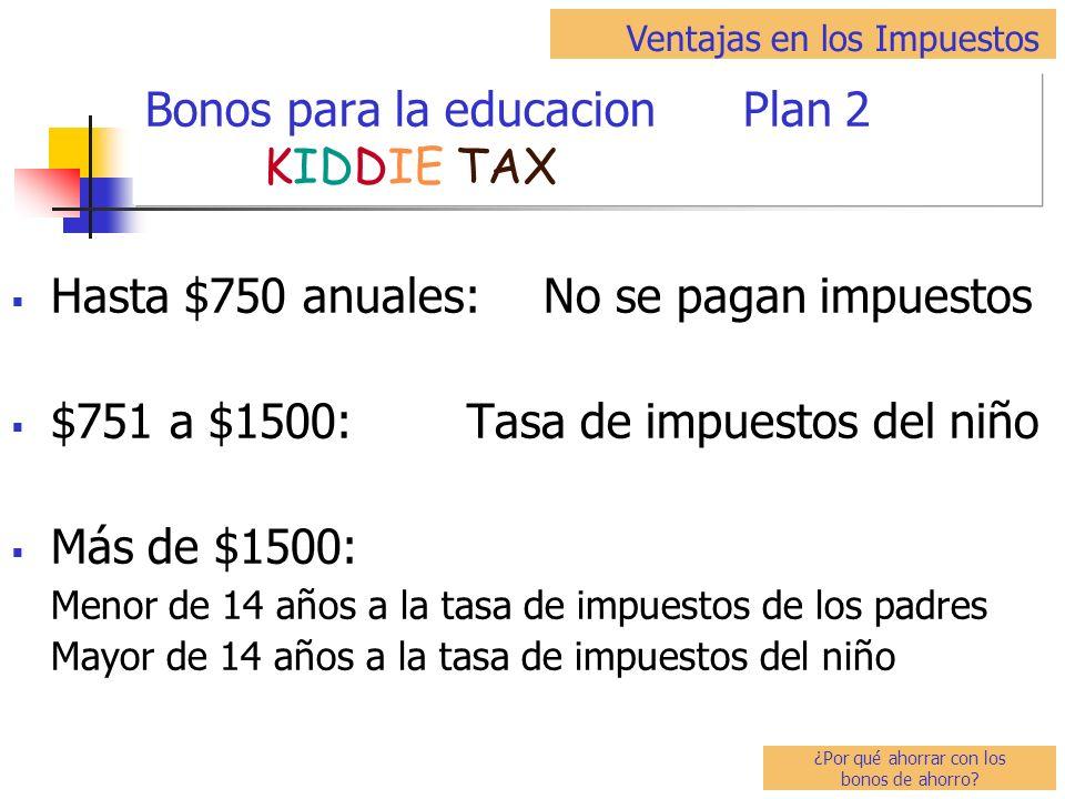 Hasta $750 anuales: No se pagan impuestos $751 a $1500: Tasa de impuestos del niño Más de $1500: Menor de 14 años a la tasa de impuestos de los padres Mayor de 14 años a la tasa de impuestos del niño Bonos para la educacion Plan 2 KIDDIE TAX Ventajas en los Impuestos ¿Por qué ahorrar con los bonos de ahorro