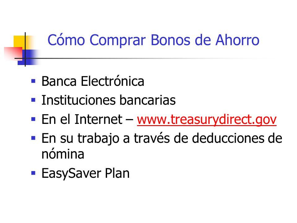 Cómo Comprar Bonos de Ahorro Banca Electrónica Instituciones bancarias En el Internet – www.treasurydirect.govwww.treasurydirect.gov En su trabajo a través de deducciones de nómina EasySaver Plan