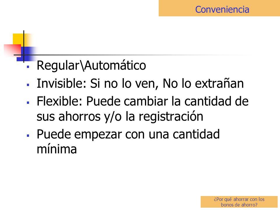 Regular\Automático Invisible: Si no lo ven, No lo extrañan Flexible: Puede cambiar la cantidad de sus ahorros y/o la registración Puede empezar con una cantidad mínima Conveniencia ¿Por qué ahorrar con los bonos de ahorro