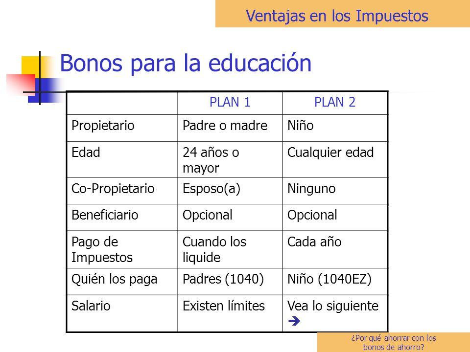 Bonos para la educación PLAN 1PLAN 2 PropietarioPadre o madreNiño Edad24 años o mayor Cualquier edad Co-PropietarioEsposo(a)Ninguno BeneficiarioOpcional Pago de Impuestos Cuando los liquide Cada año Quién los pagaPadres (1040)Niño (1040EZ) SalarioExisten límitesVea lo siguiente Ventajas en los Impuestos ¿Por qué ahorrar con los bonos de ahorro