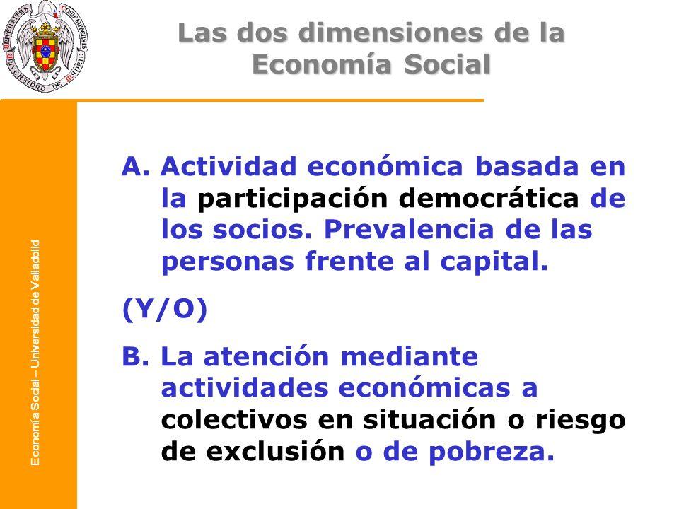 Economía Social – Universidad de Valladolid A. Actividad económica basada en la participación democrática de los socios. Prevalencia de las personas f