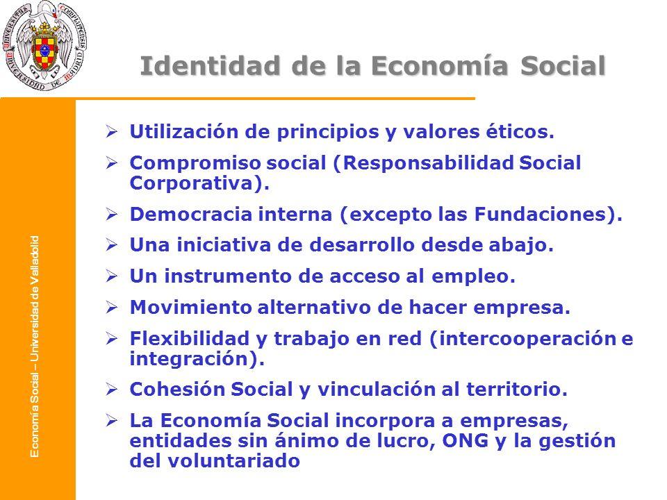 Economía Social – Universidad de Valladolid Identidad de la Economía Social Utilización de principios y valores éticos. Compromiso social (Responsabil