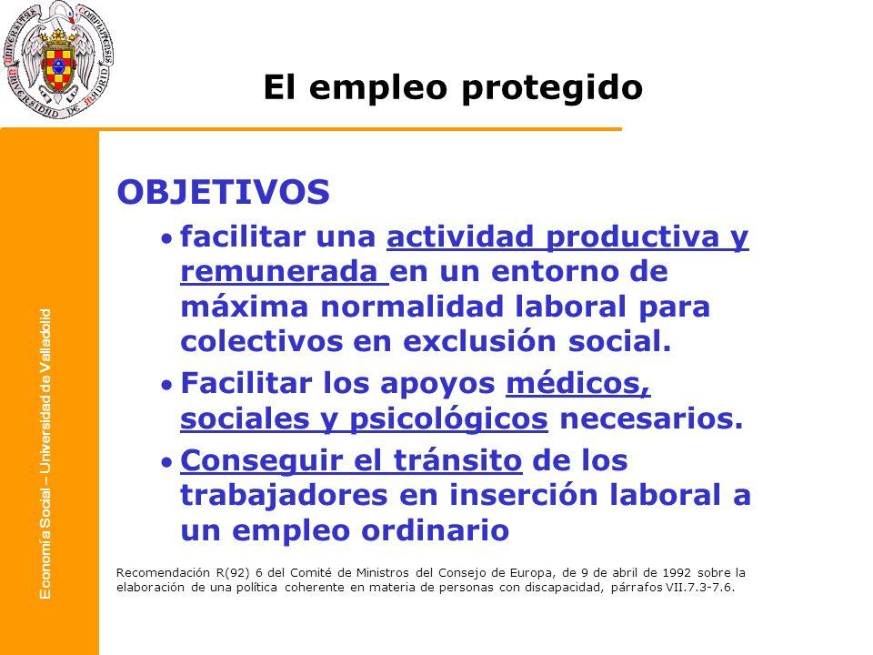 Economía Social – Universidad de Valladolid OBJETIVOS facilitar una actividad productiva y remunerada en un entorno de máxima normalidad laboral para