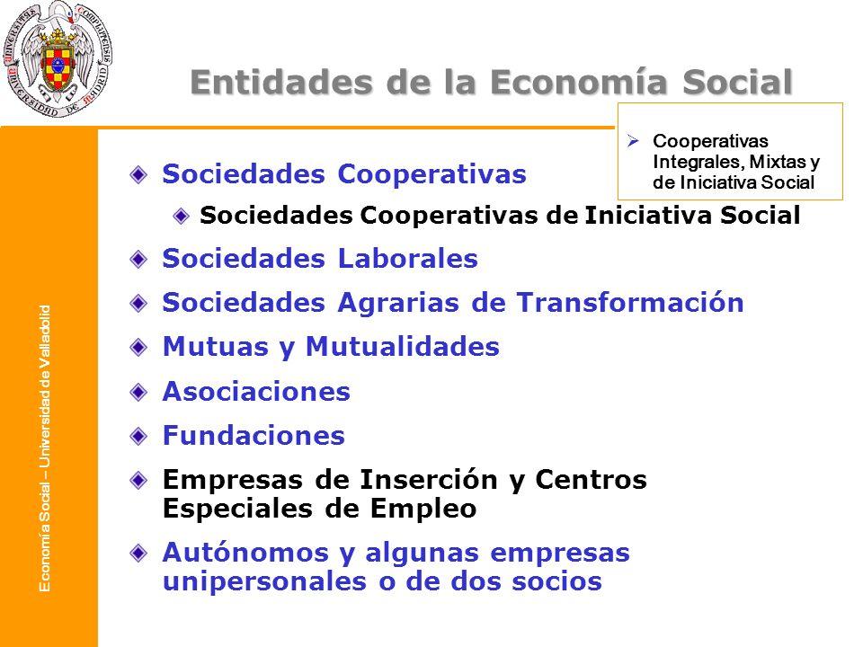 Economía Social – Universidad de Valladolid Entidades de la Economía Social Sociedades Cooperativas Sociedades Cooperativas de Iniciativa Social Socie