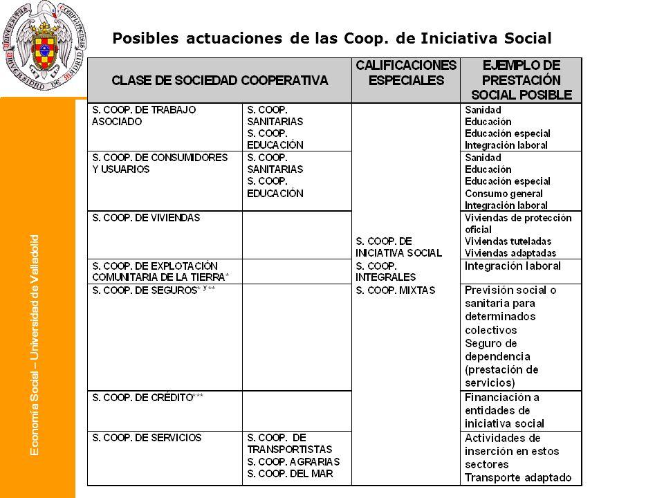 Economía Social – Universidad de Valladolid Posibles actuaciones de las Coop. de Iniciativa Social