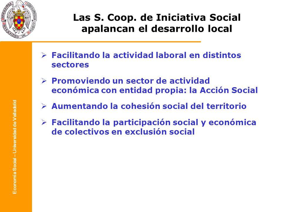Economía Social – Universidad de Valladolid Las S. Coop. de Iniciativa Social apalancan el desarrollo local Facilitando la actividad laboral en distin