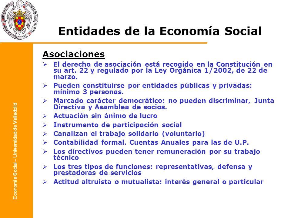 Economía Social – Universidad de Valladolid Entidades de la Economía Social Asociaciones El derecho de asociación está recogido en la Constitución en
