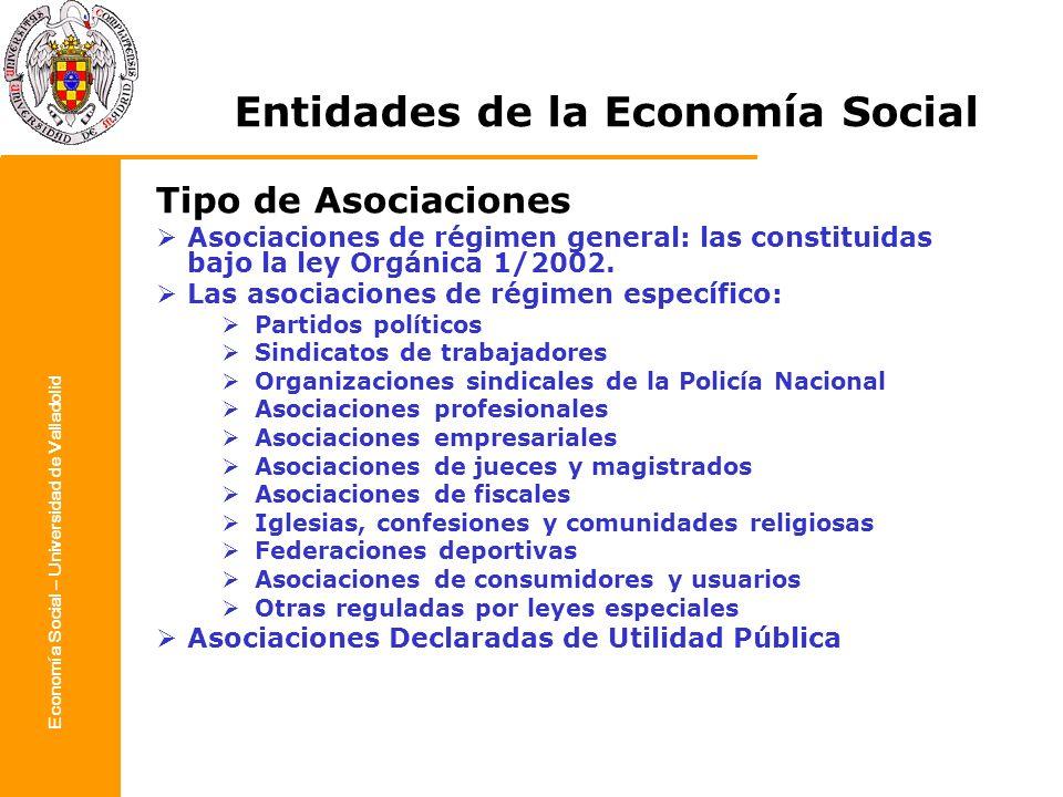 Economía Social – Universidad de Valladolid Entidades de la Economía Social Tipo de Asociaciones Asociaciones de régimen general: las constituidas baj
