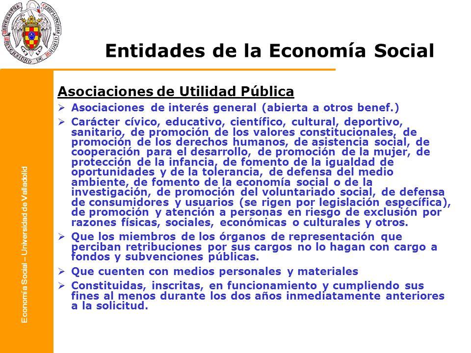 Economía Social – Universidad de Valladolid Entidades de la Economía Social Asociaciones de Utilidad Pública Asociaciones de interés general (abierta
