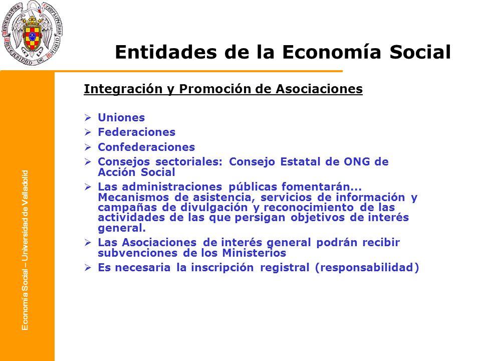 Economía Social – Universidad de Valladolid Entidades de la Economía Social Integración y Promoción de Asociaciones Uniones Federaciones Confederacion