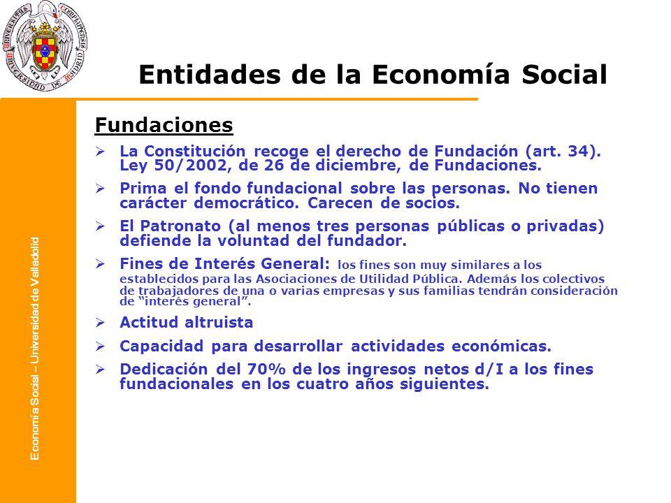 Economía Social – Universidad de Valladolid Entidades de la Economía Social Fundaciones La Constitución recoge el derecho de Fundación (art. 34). Ley