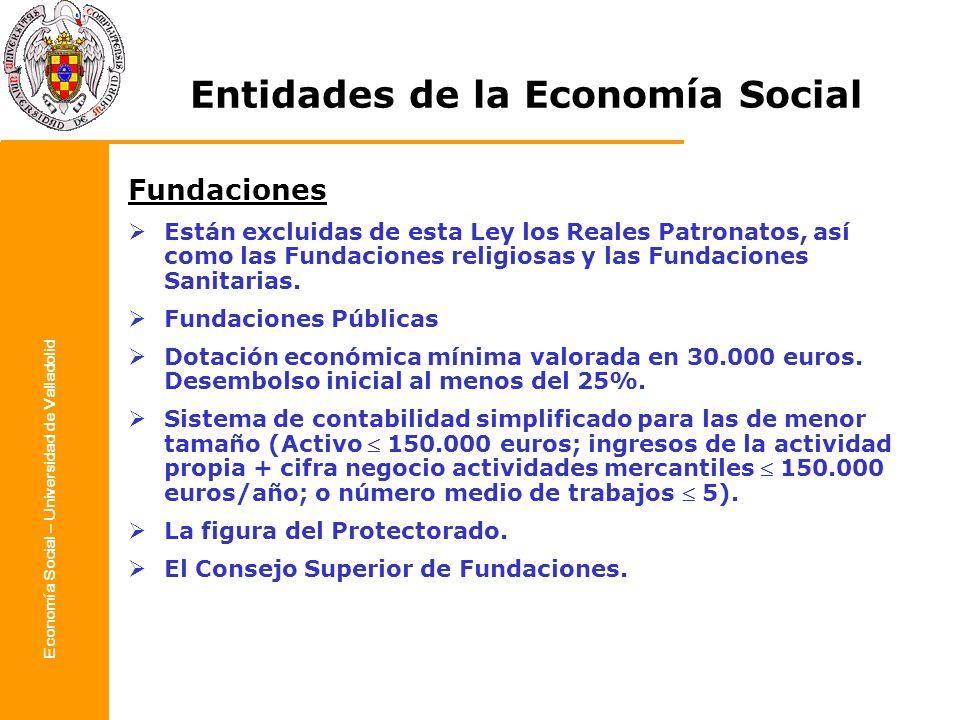 Economía Social – Universidad de Valladolid Entidades de la Economía Social Fundaciones Están excluidas de esta Ley los Reales Patronatos, así como la