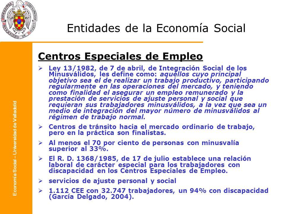 Economía Social – Universidad de Valladolid Entidades de la Economía Social Centros Especiales de Empleo Ley 13/1982, de 7 de abril, de Integración So