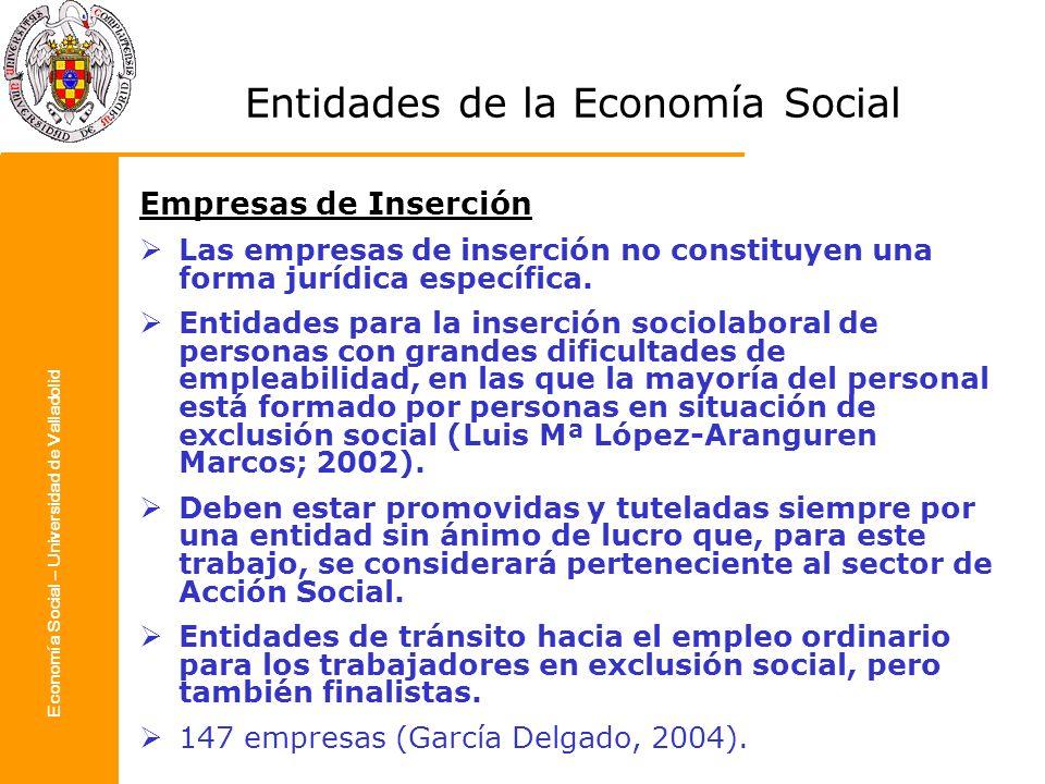 Economía Social – Universidad de Valladolid Entidades de la Economía Social Empresas de Inserción Las empresas de inserción no constituyen una forma j