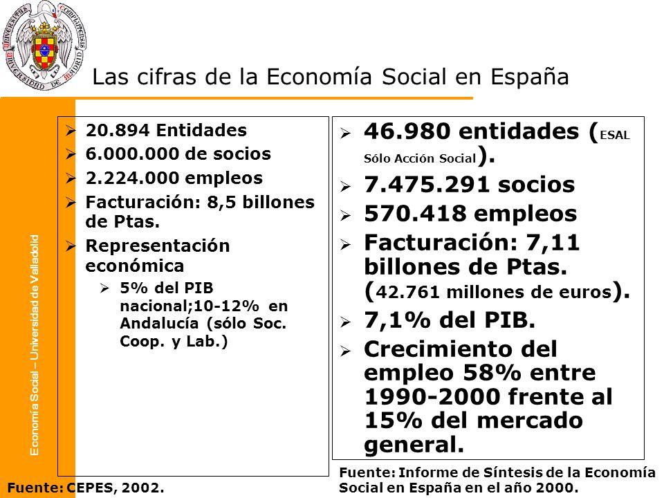 Economía Social – Universidad de Valladolid Las cifras de la Economía Social en España 20.894 Entidades 6.000.000 de socios 2.224.000 empleos Facturac
