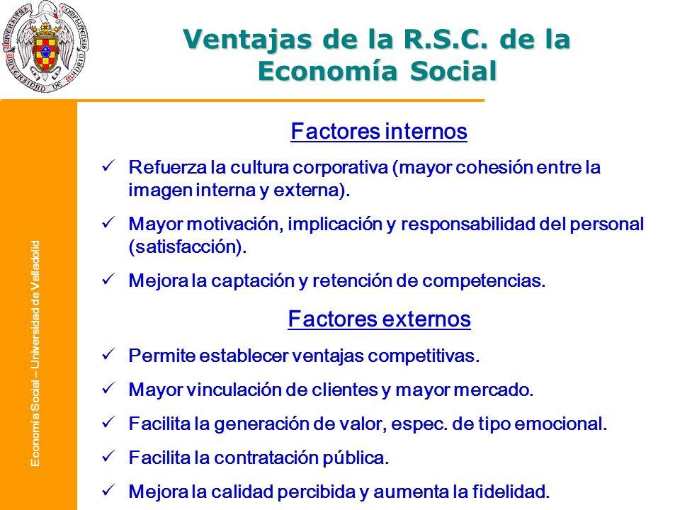 Economía Social – Universidad de Valladolid Factores internos Refuerza la cultura corporativa (mayor cohesión entre la imagen interna y externa). Mayo