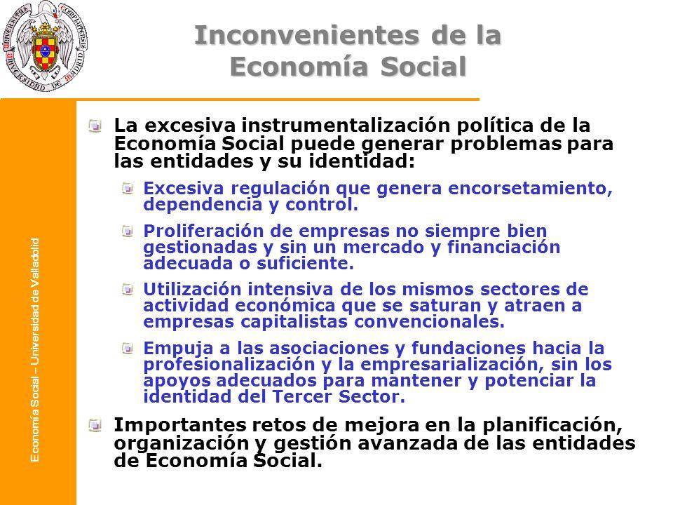 Economía Social – Universidad de Valladolid Inconvenientes de la Economía Social La excesiva instrumentalización política de la Economía Social puede