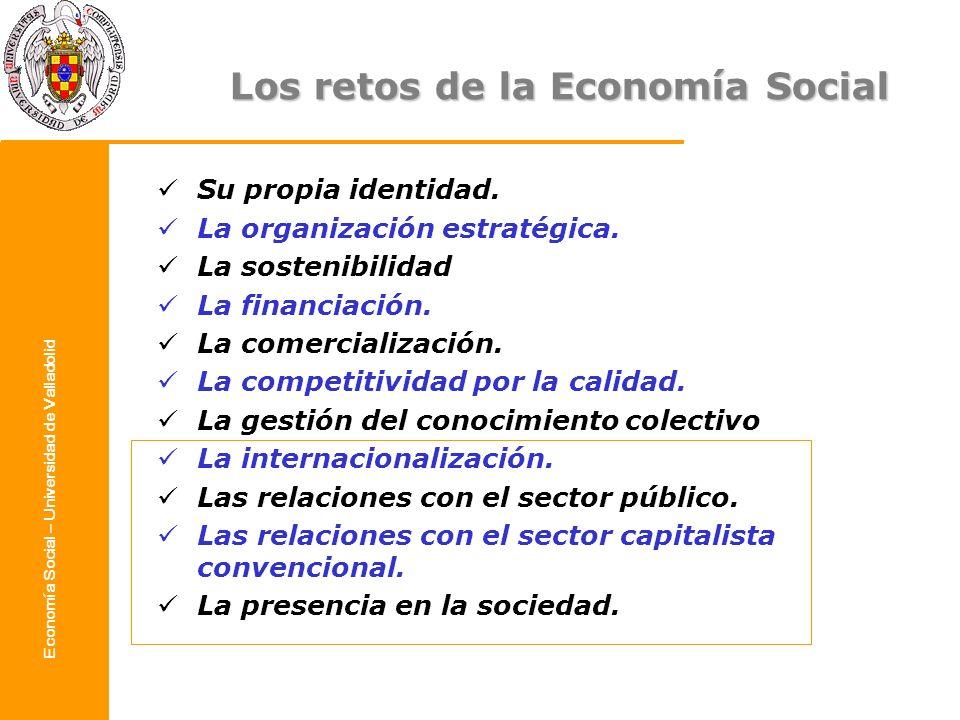 Economía Social – Universidad de Valladolid Los retos de la Economía Social Su propia identidad. La organización estratégica. La sostenibilidad La fin