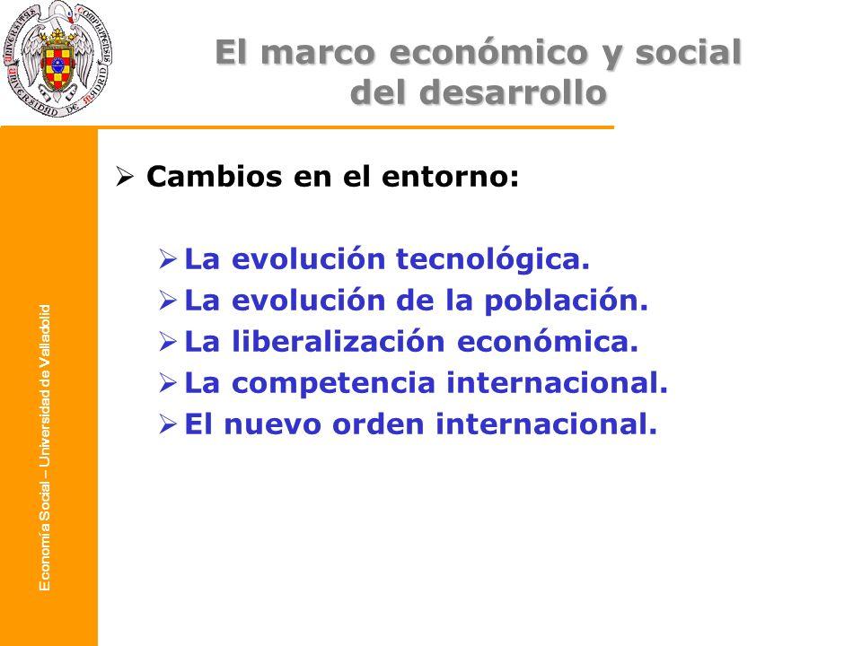 Economía Social – Universidad de Valladolid Cambios en el entorno: La evolución tecnológica. La evolución de la población. La liberalización económica