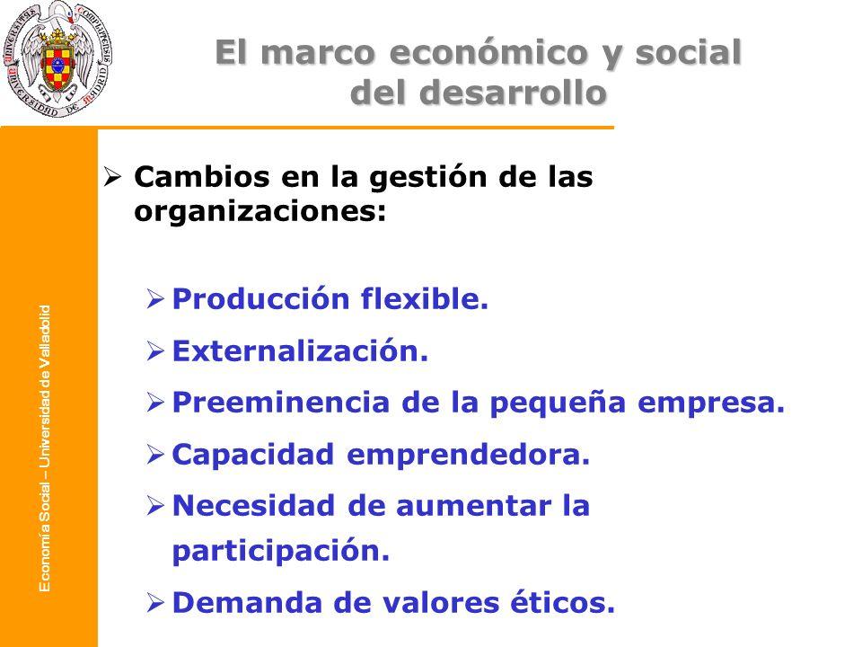 Economía Social – Universidad de Valladolid Cambios en la gestión de las organizaciones: Producción flexible. Externalización. Preeminencia de la pequ