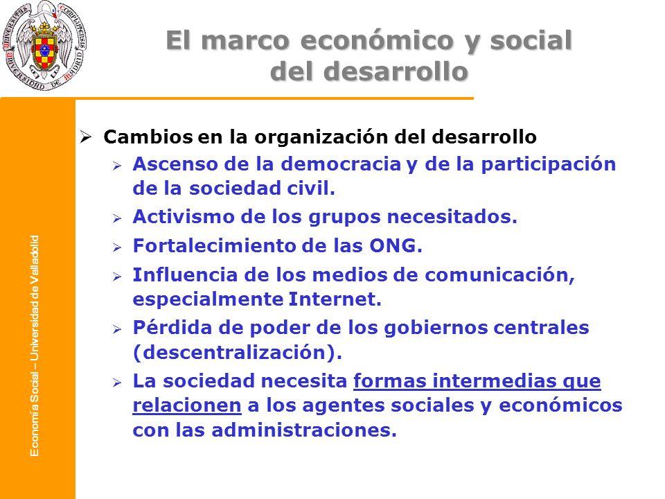 Economía Social – Universidad de Valladolid Solución desde el enfoque de desarrollo local Conciliar tres tipos de objetivos: eficiencia, equidad y sostenibilidad.