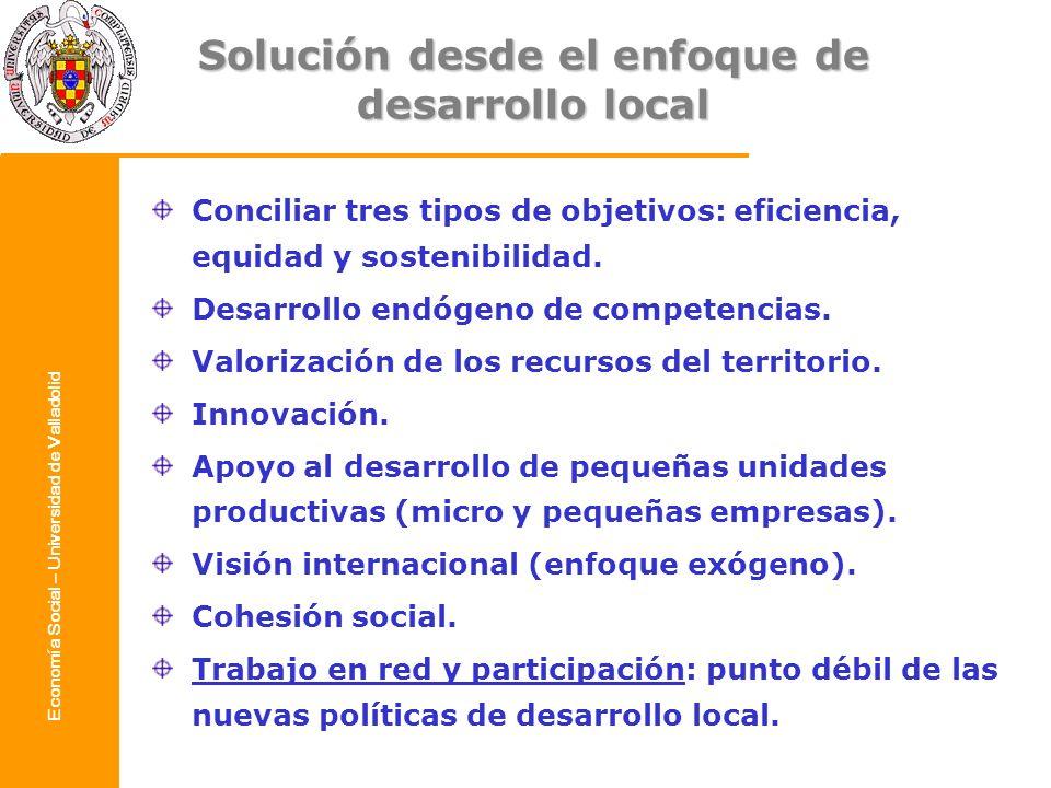 Economía Social – Universidad de Valladolid Solución desde el enfoque de desarrollo local Conciliar tres tipos de objetivos: eficiencia, equidad y sos