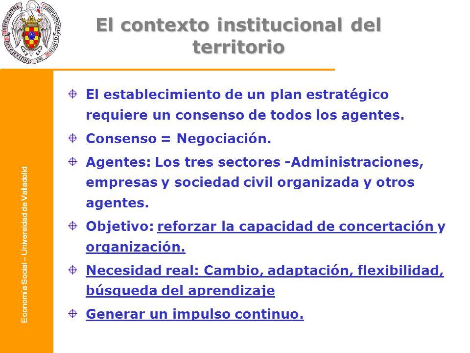 Economía Social – Universidad de Valladolid El contexto institucional del territorio El establecimiento de un plan estratégico requiere un consenso de