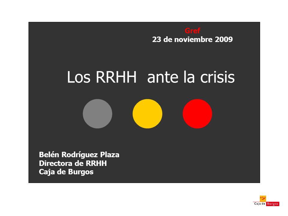 Los RRHH ante la crisis Gref 23 de noviembre 2009 Belén Rodríguez Plaza Directora de RRHH Caja de Burgos