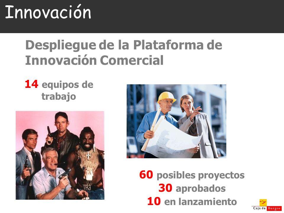 Innovación Despliegue de la Plataforma de Innovación Comercial 14 equipos de trabajo 60 posibles proyectos 30 aprobados 10 en lanzamiento