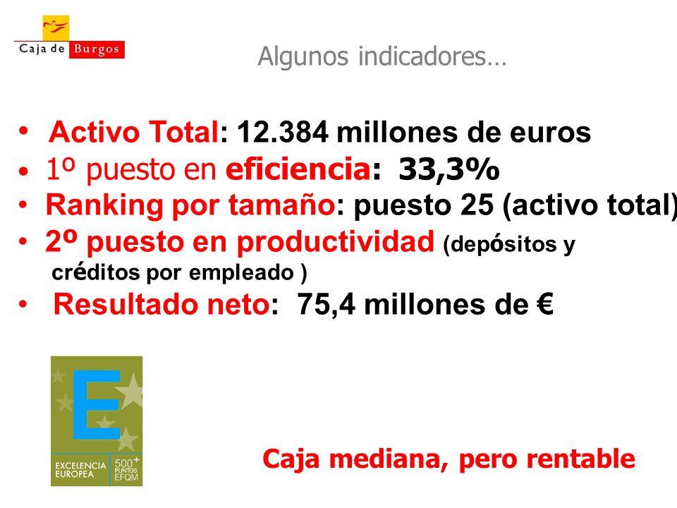 Caja mediana, pero rentable Activo Total: 12.384 millones de euros 1º puesto en eficiencia: 33,3% Ranking por tamaño: puesto 25 (activo total) 2 º pue
