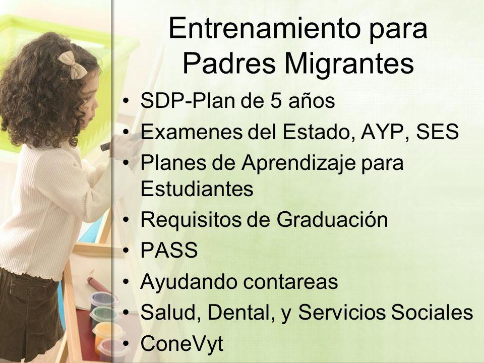 Entrenamiento para Padres Migrantes SDP-Plan de 5 años Examenes del Estado, AYP, SES Planes de Aprendizaje para Estudiantes Requisitos de Graduación PASS Ayudando contareas Salud, Dental, y Servicios Sociales ConeVyt