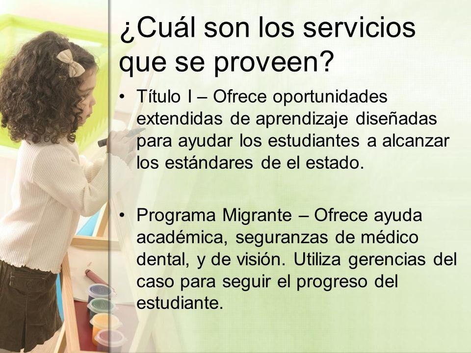 ¿Cuál son los servicios que se proveen.