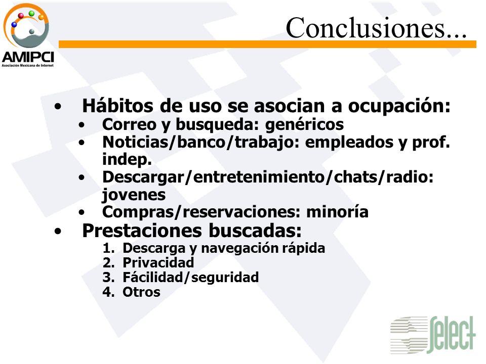 Conclusiones... Hábitos de uso se asocian a ocupación: Correo y busqueda: genéricos Noticias/banco/trabajo: empleados y prof. indep. Descargar/entrete