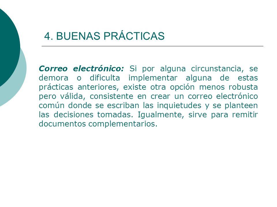 4. BUENAS PRÁCTICAS Correo electrónico: Si por alguna circunstancia, se demora o dificulta implementar alguna de estas prácticas anteriores, existe ot