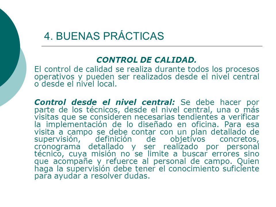 4. BUENAS PRÁCTICAS CONTROL DE CALIDAD. El control de calidad se realiza durante todos los procesos operativos y pueden ser realizados desde el nivel