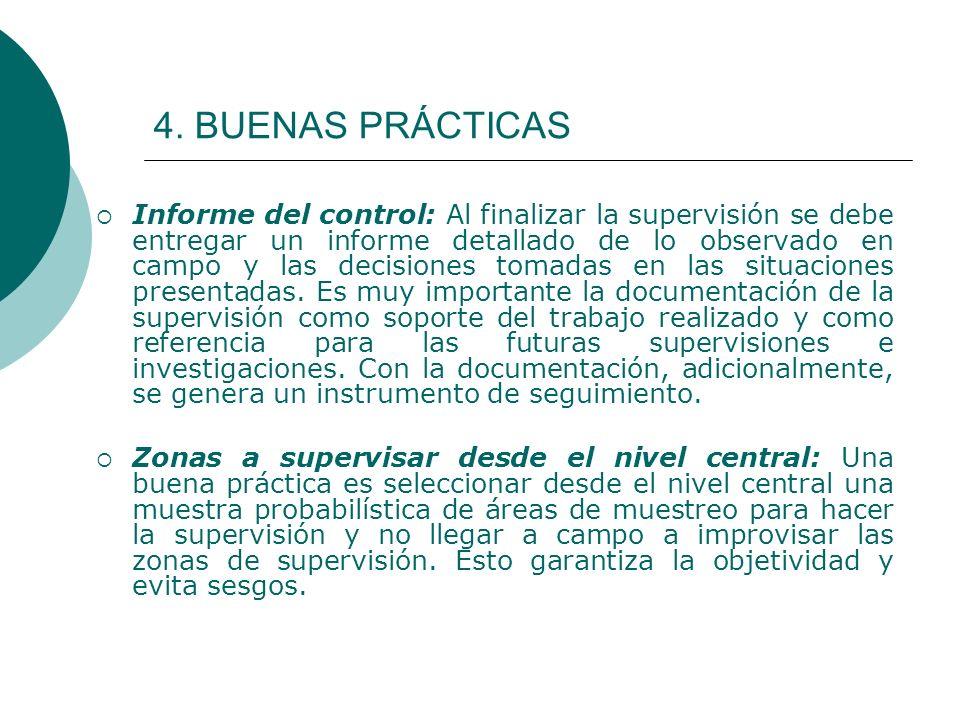4. BUENAS PRÁCTICAS Informe del control: Al finalizar la supervisión se debe entregar un informe detallado de lo observado en campo y las decisiones t