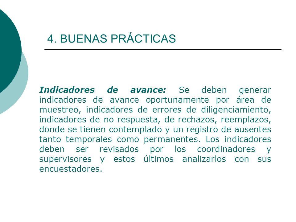 4. BUENAS PRÁCTICAS Indicadores de avance: Se deben generar indicadores de avance oportunamente por área de muestreo, indicadores de errores de dilige