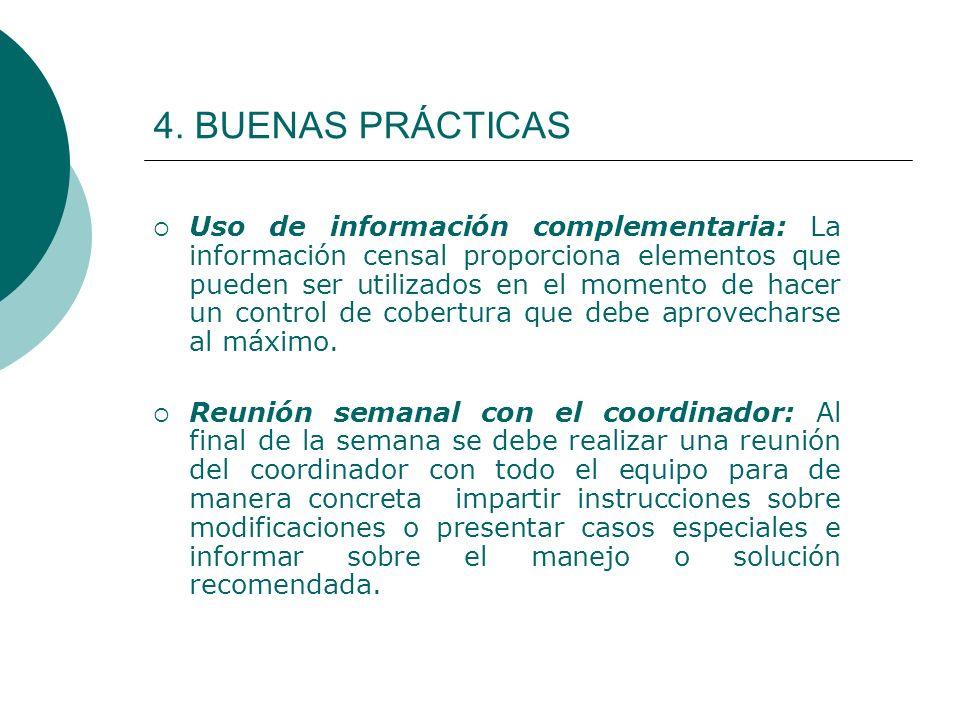 4. BUENAS PRÁCTICAS Uso de información complementaria: La información censal proporciona elementos que pueden ser utilizados en el momento de hacer un