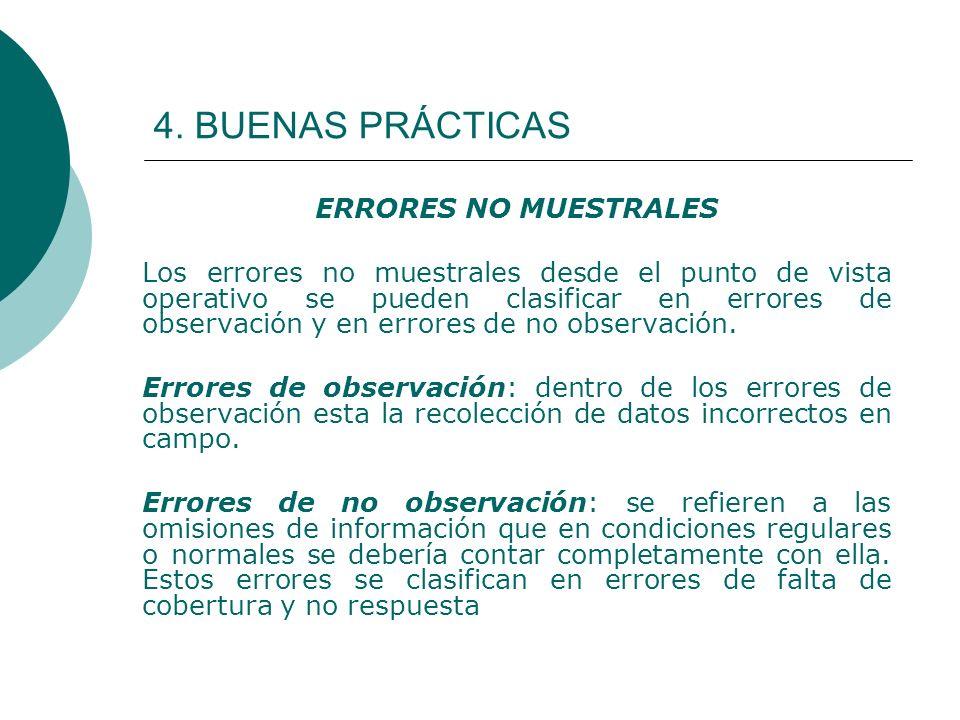 4. BUENAS PRÁCTICAS ERRORES NO MUESTRALES Los errores no muestrales desde el punto de vista operativo se pueden clasificar en errores de observación y